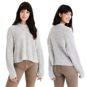 AMERICAN EAGLE Cozy Crew Neck Knit Sweater in Gray Medium